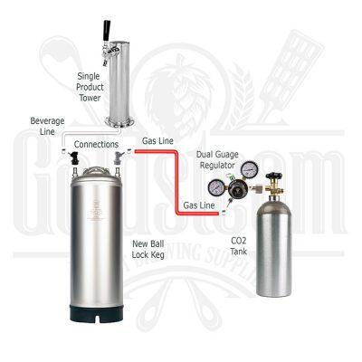 Single Tap Tower Kegerator Kit With New Kegs