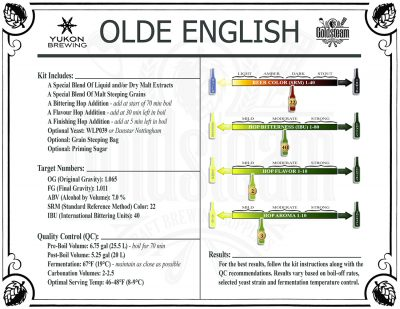 Yukon Brewing Olde English Ale Extract Beer Kit Brewing Doic