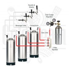 Triple Tap Kegerator Kit With New Kegs