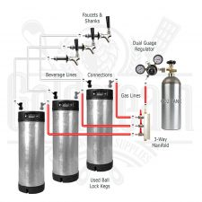 Used Keg Triple Tap Kegerator Kit